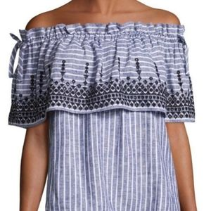 Parker Pinstriped Cold Shoulder Tunic Dress Small